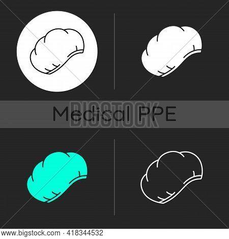 Disposable Surgical Cap Dark Theme Icons Set. Protective Wear For Head. Sterile Suit. Quarantine Saf