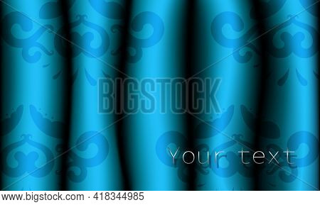 Realistic Blue Patterned Fabric Curtains. Pattern On Drapes. Vector Illustration.
