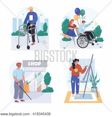 Disabled People Concept Scenes Set. Handicapped Person In Wheelchair, Walks With Walker, Shopping, W