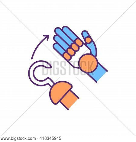 Innovative Prosthetic Hand Rgb Color Icon. Fully Articulated Fingers. Natural-looking Prosthesis. Ar