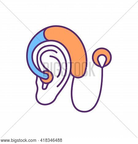 Cochlear Implant Rgb Color Icon. Hearing Aids. Assistive Listening Device. Sounds And Speech Process