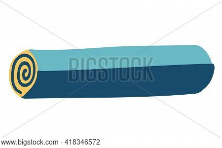 Travel Mat Or Yoga Mat. Element For Travel And Camping And Hiking. Isolated Element On A White Backg