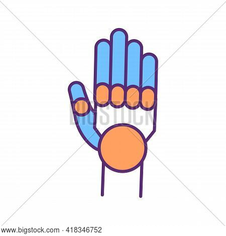 Innovative Prosthetic Hand Rgb Color Icon. Training Prosthetic Fingers Movements Control. Artificial