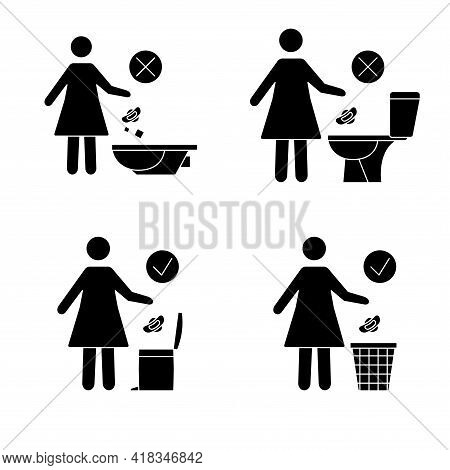 Do Not Litter In The Toilet. Toilet No Trash. Women Throw Sanitary Towels In The Lavatory. Please Do