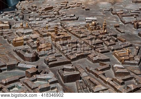Model City Made Bronze Close-up, Houses And Streets Are Not Detailed, Some Buildings Are More Detail