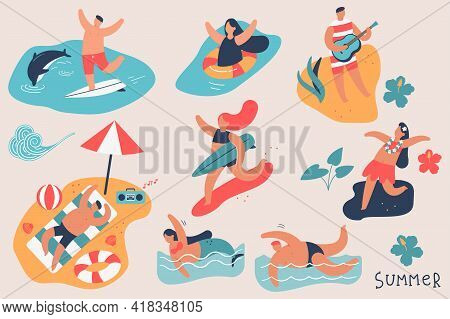 Summer People Vector Cartoon Character Set. Man And Woman On The Beach, Swim In The Ocean, Surf, Sun