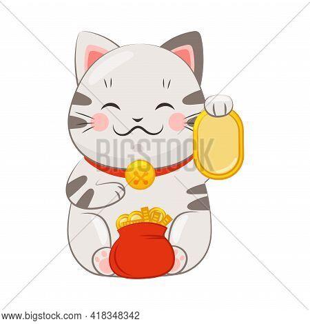 White Maneki-neko Cat With Collar Holding Gold Coin With Paw As Ceramic Japanese Figurine Bringing G