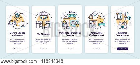 Comprehensive Wealth Planning Onboarding Mobile App Page Screen With Concepts. Savings, Assets Walkt