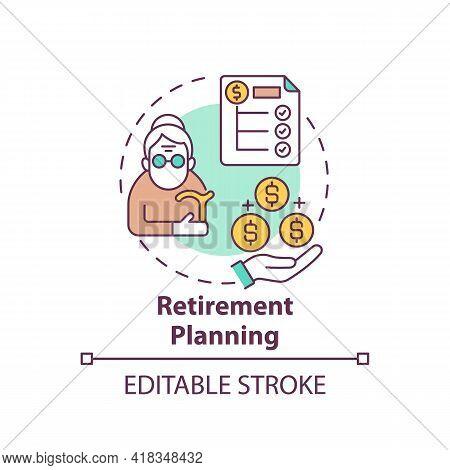 Retirement Planning Concept Icon. Wealth Management Idea Thin Line Illustration. Retirement Income G
