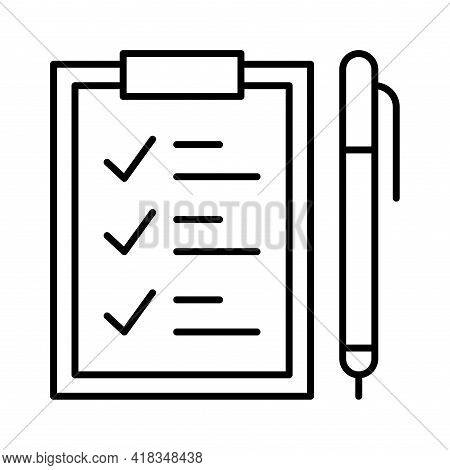 Linear Task Plan Icon Vector Illustration Clipboard With Pen Timetable At Notepaper Time Management