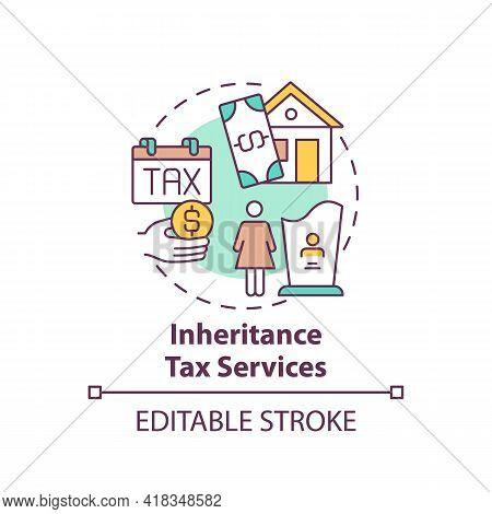 Inheritance Tax Services Concept Icon. Wealth Management Service Idea Thin Line Illustration. Death