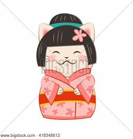 White Maneki-neko Cat In Kimono As Ceramic Japanese Figurine Bringing Good Luck Vector Illustration