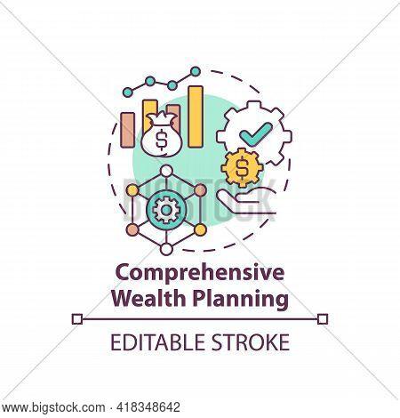 Comprehensive Wealth Planning Concept Icon. Wealth Management Idea Thin Line Illustration. Cash-flow