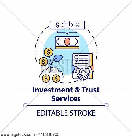 Investment And Trust Services Concept Icon. Wealth Advisory Service Idea Thin Line Illustration. Rai