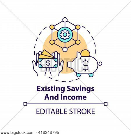 Existing Savings And Income Concept Icon. Wealth Planning Element Idea Thin Line Illustration. Money