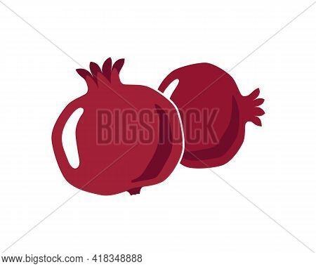 Pomegranates Graphic Icon. Two Pomegranates Colorful Sign Isolated On White Background. Symbol Pomeg