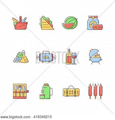 Picnic Rgb Color Icons Set. Heaving Picnic Hamper. Ham And Cheese Sandwich. Watermelon. Take Away Fo