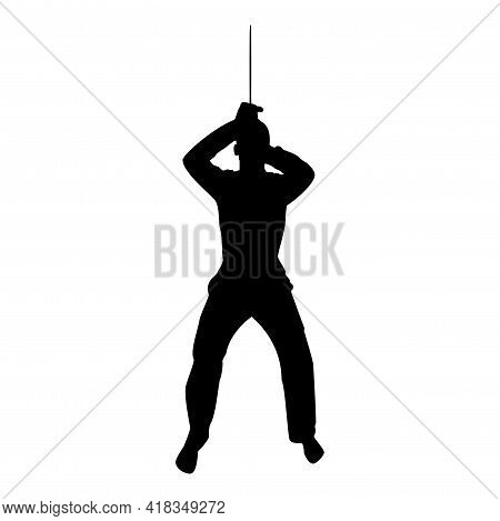 Silhouette Man With Sword Machete From Above Cold Weapons In Hand Military Man Soldier Serviceman In