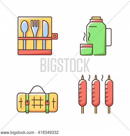 Outdoor Social Gathering Rgb Color Icons Set. Picnic Cutlery. Vacuum Flask. Grilled Sausages. Picnic