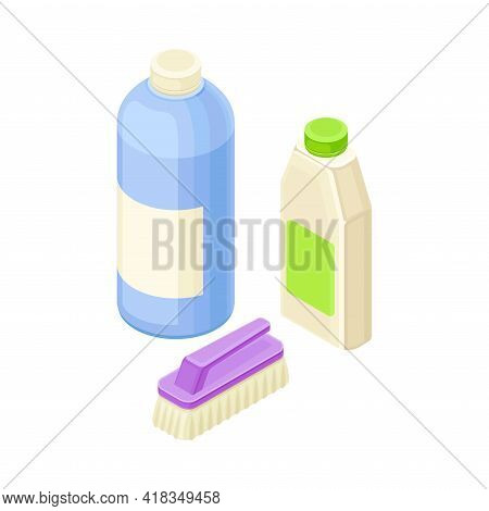 Household Cleaning Equipments With Scrub Brush And Detergent In Bottles Isometric Vector Composition