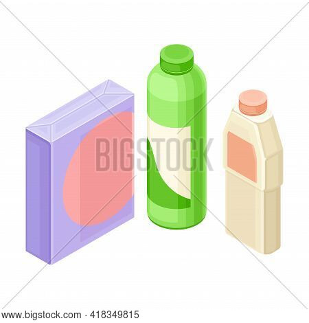 Detergent And Cleansing Agent In Plastic Bottles As Household Cleaning Equipments Isometric Vector C