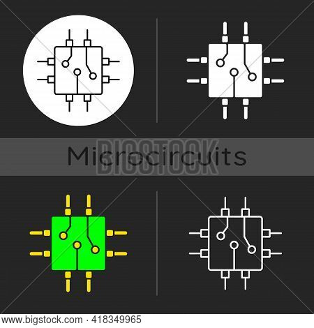 Circuit Board Design Dark Theme Icon. Create Plan How To Place All Microprocessors On Circuit Board