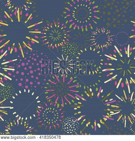 Seamless Colorful Background With Fireworks On Dark Background