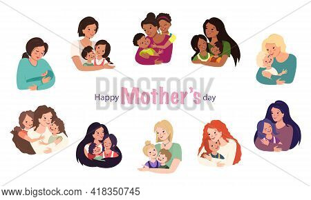 Family Avatars Set. Mom Hugs The Children. Happy Mater Day. Smiling Faces Of Caring And Loving Peopl