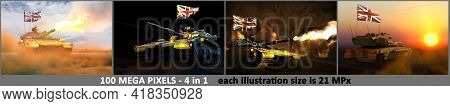 United Kingdom (uk) Army Concept - 4 Very High Resolution Images Of Tank With Not Real Design With U