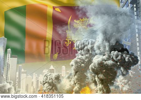 Huge Smoke Column With Fire In Abstract City - Concept Of Industrial Disaster Or Terroristic Act On