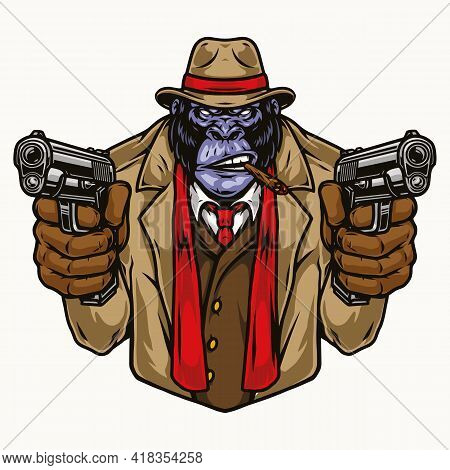 Colorful Concept Of Aggressive Gorilla Gangster In Fedora Hat Suit Coat Gloves And Red Scarf Smoking