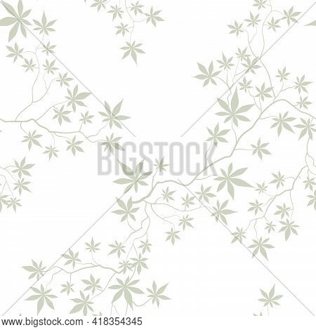 Floral Pattern With Leaves And Flowers In Elegant Retro Eastern Chinese Style. Abstract Seamless Flo