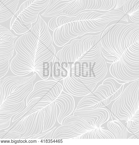 Floral Pattern With Leaves In Elegant Retroline Art Style. Abstract Seamless Floral Line Background.