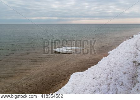 This Is A Lonely Ice Floe At The Cost Of The Sea Of Azov In Winter.