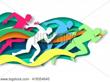 Marathon Runner, Sprinter, Winner Silhouettes, Vector Illustration In Paper Art Style. Marathon Fini