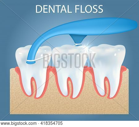 Oral Care Dental Floss Pick Ad Vector Poster, Banner Template. Teeth Cleaning Floss Toothpick. Denta