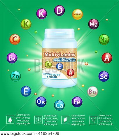 Multivitamin Complex Advertising Vector Poster Template. Vitamin And Mineral Supplements. Health Car