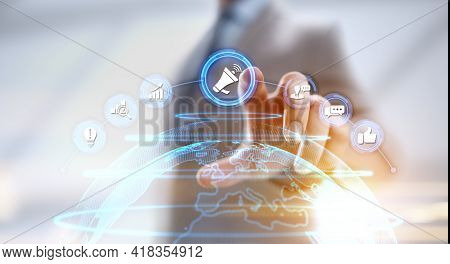 Advertising Advertising Pr Public Relations Concept. Businessman Pressing Button On Screen