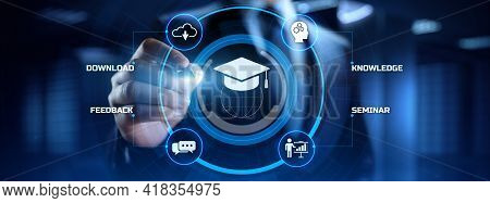 E-learning Online Learning Distance Education Concept. Businessman Pressing Button On Screen