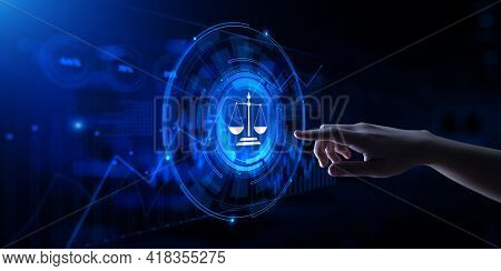 Labor Law Cyber Compliance Advocacy Business Concept. Hand Pressing Virtual Button