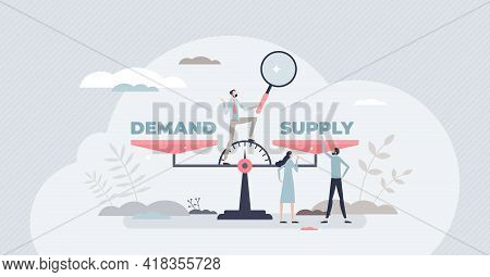 Demand Supply Scale Balance For Market Sale Management Tiny Person Concept. Strategy Planning Analys