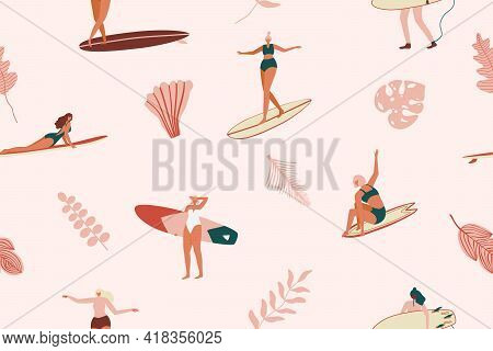 Surf Girls Character In Swimsuit With A Shortboard And Longboard. Tropical Seamless Pattern In Vecto