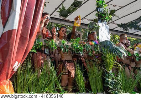 Barcelona - Spain. June 29, 2020: A Platform Decorated In The Jungle Style With Abundant Green Veget