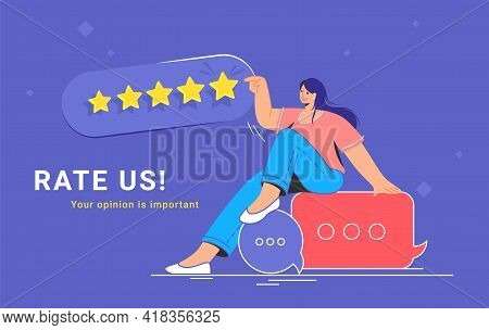 Consumer Review And 5 Stars Rating. Flat Vecor Illustration Of Smiling Woman Sitting On Speech Bubbl