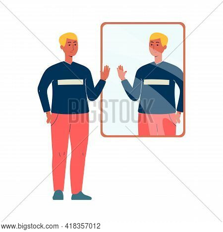 Smiling Confident Man In Front Of Mirror, Flat Vector Illustration Isolated.
