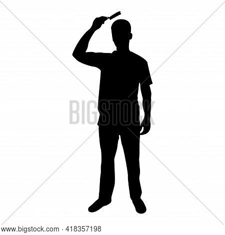 Silhouette Man Is Combing Hair Use Hairbrush Front View Black Color Vector Illustration Flat Style S