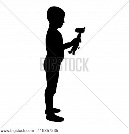 Silhouette Boy Holds Toy Child Hold Giraffe Preschool Brother Holding Amigurumi Son With Gifts Teddy