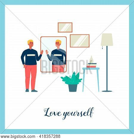 Poster Or Banner On Self-love And Self-acceptance, Flat Vector Illustration.