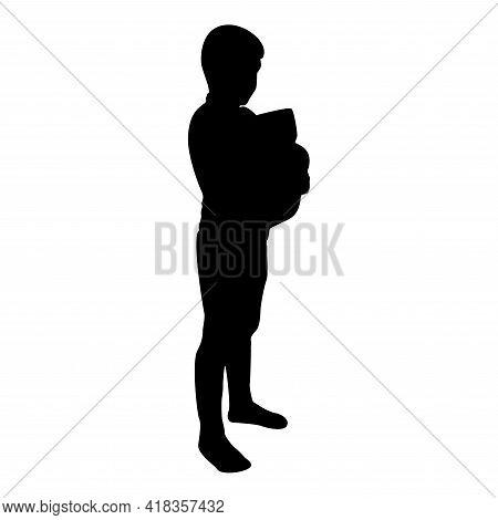 Silhouette Boy Hugs Pillow Arm Child Holds Cushion Hugging Hands Preschool Hug Cute Brother Standing