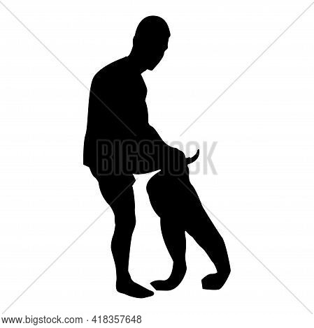 Silhouette Man Dressing Pant Clothes Concept Put On His Trousers Black Color Vector Illustration Fla